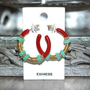 EXPRESS Threaded Boho Turquoise Hoop Earrings